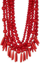 BaubleBar Malibu Layered Beaded & Spike Fringe Statement Necklace