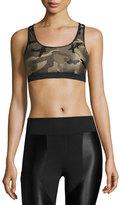 Koral Activewear Bridge Camo-Print Sports Bra, Green/Black