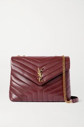 Saint Laurent Loulou Medium Quilted Leather Shoulder Bag - Burgundy