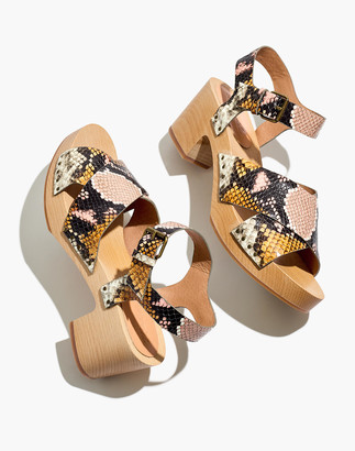 Madewell The Johanna Crisscross Clog Sandal in Snake Embossed Leather