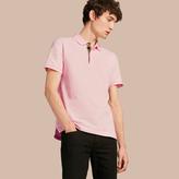 Burberry Check Placket Cotton Piqué Polo Shirt , Size: Xs, Pink