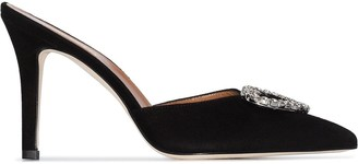 Paris Texas crystal heart 90mm mules