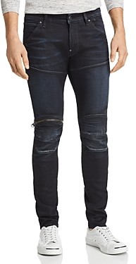 G Star 5620 3D Knee Zip Skinny Fit Jeans in Dark Aged