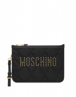 Moschino Quilted Clutch With Studs