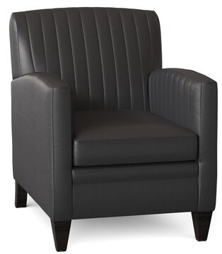 """Thumbnail for your product : Bradington-Young Barnabus 27.5"""" Wide Genuine Leather Club Chair Body Fabric: Aline Light Gray Stonewash 5754, Leg Color: Cobblestone"""