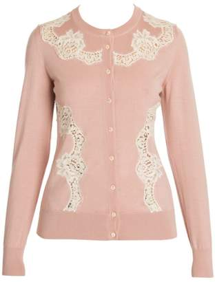 Dolce & Gabbana Cashmere & Silk-Blend Lace Inset Knit Cardigan