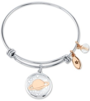 Unwritten Saturn Crystal Multi-Charm Bangle Bracelet in Stainless Steel & Rose Gold-Tone Stainless Steel