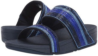 FitFlop Rosa Crystal Mosaic Slide (All Black) Women's Shoes