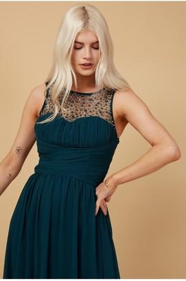Little Mistress Grace Bridesmaid Emerald Green Embellishment Sweetheart Maxi Dress
