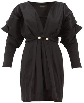 Romance Was Born Venus Faux Pearl-embellished Taffeta Mini Dress - Womens - Black