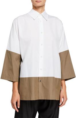 eskandar Colorblocked Slope-Shoulder Shirt