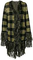Balmain checked fringe cardi-coat