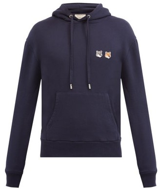 MAISON KITSUNÉ Double Fox Head-patch Cotton Hooded Sweatshirt - Navy
