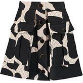 DKNY Quilted Printed Silk-Blend Mini Skirt