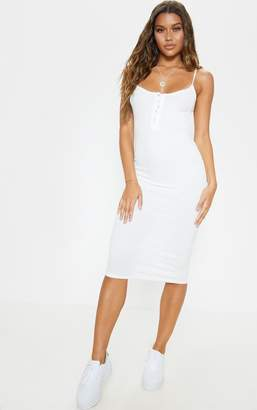 PrettyLittleThing White Soft Rib Button Front Strappy Midaxi Dress