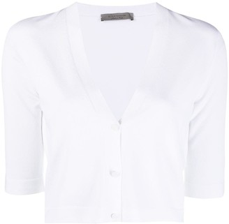 D-Exterior Cropped Fine Knit Cardigan