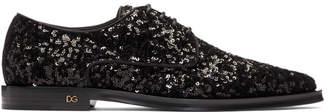 Dolce & Gabbana Black Sequinned Derbys