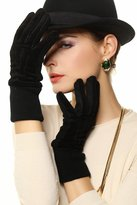WARMEN Women's Genuine Pigskin Suedeeather Goves with Rib-knit Cuff for Winter (Back,)