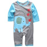 honeys Infant Boys Girls Animal Pattern Print Long Sleeve Romper Onesie for 0-18months (M(6-12months), )