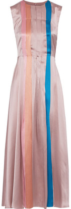 Roksanda Tiera Pleated Color-block Silk-satin Midi Dress