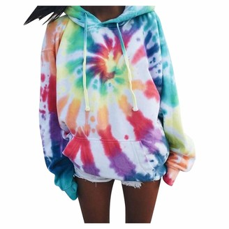CHMORA Women's top Loose Fashion dye Printing Hoodie Pullover Casual Long-Sleeved Sweatshirt Must-Have top for Autumn and Winter