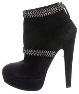 Alaia Suede Chain-Linked Platform Ankle Boots