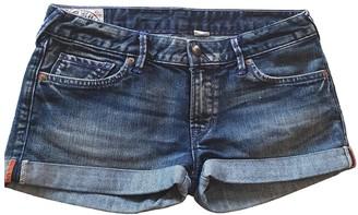 Evisu Blue Cotton Shorts for Women
