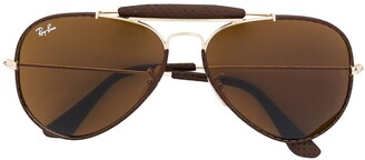 Ray-Ban Leather Trimmed Aviator Sunglasses