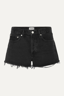 AGOLDE Parker Frayed Denim Shorts - Black