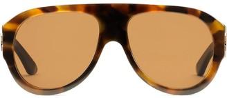 Gucci Tortoiseshell-Effect Aviator-Frame Sunglasses