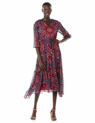 Taylor Dresses Women's Elbow Sleeve Medallion Print Midi Dress