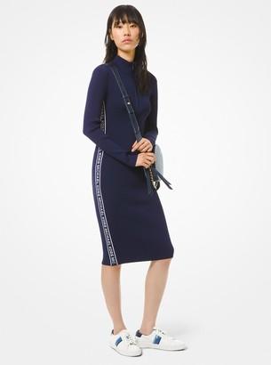 MICHAEL Michael Kors Logo Tape Ribbed Knit Zip Dress