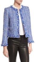 Alice + Olivia Nila Tweed Frayed-Hem Box Jacket
