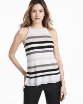 White House Black Market Sleeveless Stripe Woven Hem Sweater