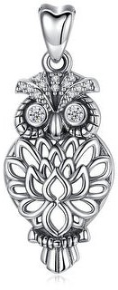 """Carolina Glamour Collection Owl Bird Lotus Feather Sterling Silver Pendant Necklace 18"""""""
