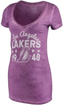 Majestic Women's Threads Purple Los Angeles Lakers City Over Pop Premium V-Neck T-Shirt