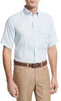 Peter Millar Crown Cool Glen Plaid Short-Sleeve Sport Shirt, Light Blue