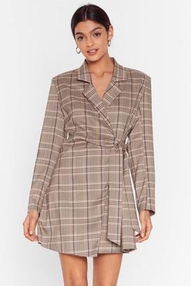 Nasty Gal Womens Mini Blazer Dress with Check Print Throughout - Brown