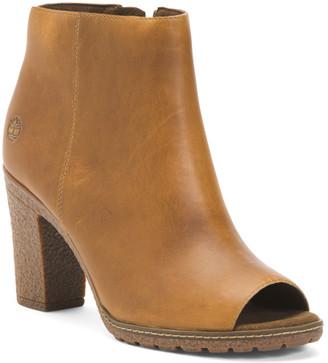 Leather Peep Toe Booties