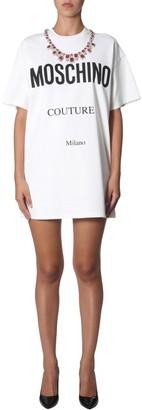 Moschino Crystal Embellished Logo Print T-Shirt Dress