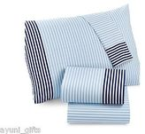 Martha Stewart Whim Collection 100% Cotton Sheet Set Blue Stripes Queen