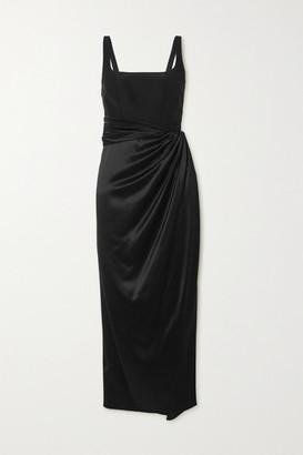 Brandon Maxwell Wrap-effect Stretch-silk And Silk-satin Midi Dress - Black