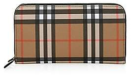 Burberry Women's Elmore Vintage Check & Leather Zip-Around Wallet