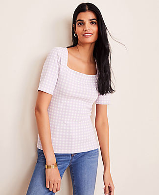 Ann Taylor Petite Gingham Square Neck Luxe Tee