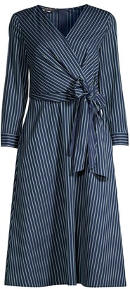 Lafayette 148 New York Penelope Series Striped Faux-Wrap Dress