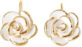 Golden White Cloud Rose Hook Earrings