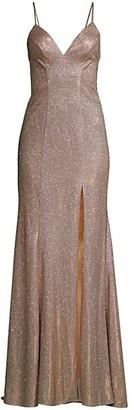 Faviana Metallic Shimmer Slit Gown