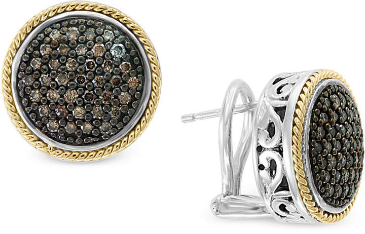 Effy Diamond Round Filigree Stud Earrings (1/2 ct. t.w.) in Sterling Silver and 18k Gold