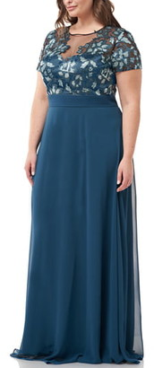 JS Collections Embroidered Bodice Evening Dress