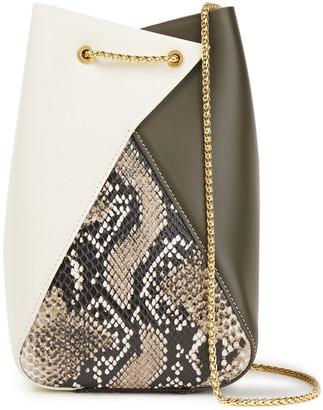 THE VOLON Mani Paneled Smooth And Snake-effect Leather Bucket Bag